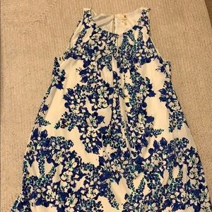 Floral White and Blue Dress